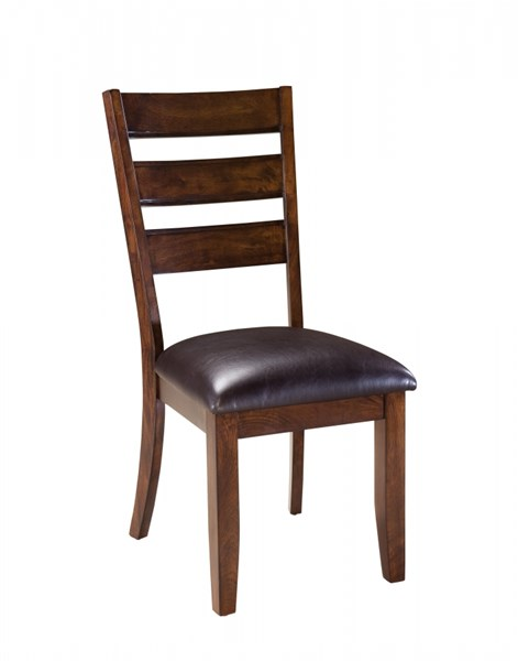 2 Abaco Casual Dark Brown PVC Fabric Wood Side Chairs STD-18924
