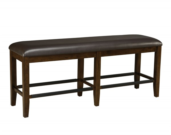 Abaco Casual Dark Brown PVC Fabric Wood Counter Height Bench STD-18939