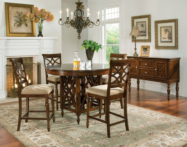 Woodmont Traditional Cherry Wood 5pc Counter Height / Bar Set std-191-DR-S2