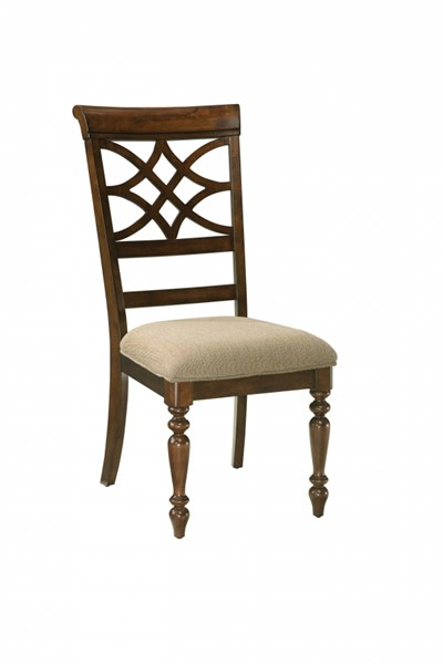 2 Woodmont Traditional Cherry Wood Fabric Side Chairs STD-19184