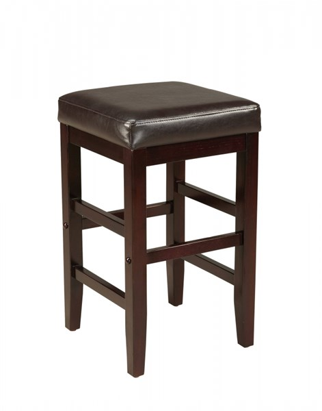 Smart Casual Brown Wood PVC 24 Inch Square Stool STD-19601