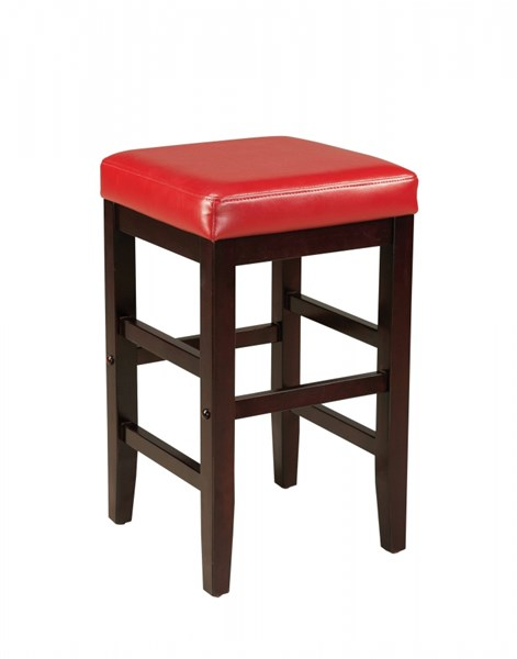 Smart Casual Red Wood PVC 24 Inch Square Stool STD-19611
