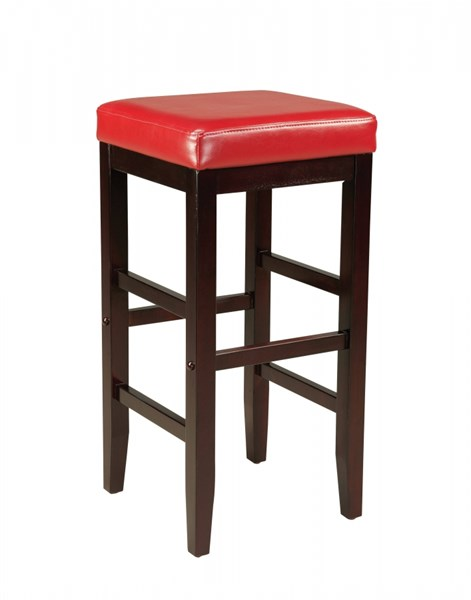 Smart Casual Red Wood PVC 29 Inch Square Stool STD-19612