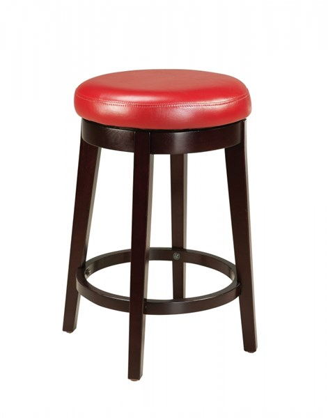 Smart Casual Red Wood PVC 24 Inch Round Stool STD-19613