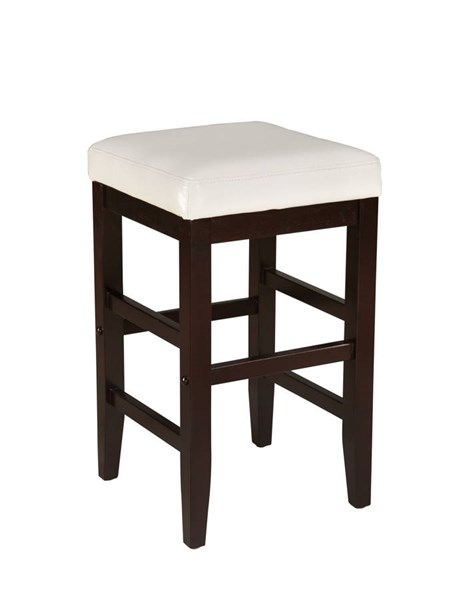 Smart Casual White Wood PVC 24 Inch Square Stool STD-19621
