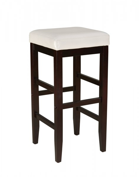 Smart Casual White Wood PVC 29 Inch Square Stool STD-19622