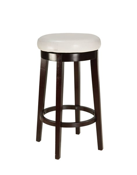 Smart Casual White Wood PVC 29 Inch Round Stool STD-19624