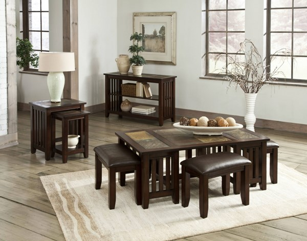 Napa Valley Casual Gray Warm Gold Wood Coffee Table Set std-2065-OCT
