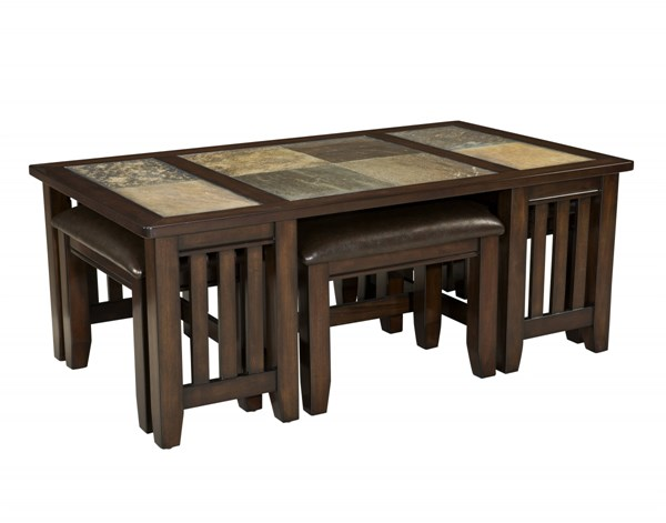 Napa Valley Casual Gray Warm Gold Wood Cocktail Table W/4Stools STD-20651