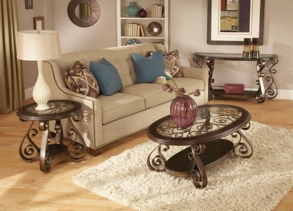 Bombay Old World Dark Cherry Metal Glass Coffee Table Set std-2160-OCT