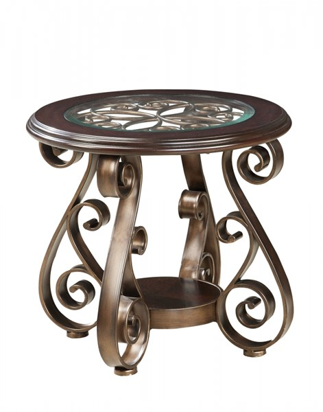 Bombay Old World Dark Cherry Metal Glass Round End Table STD-21602