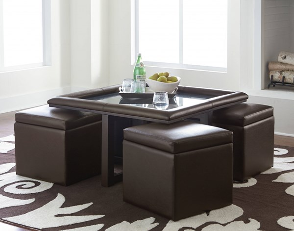 Rendezvous Chocolate Wood PVC Glass Top Table W/Ottomans 5 Pack STD-21847