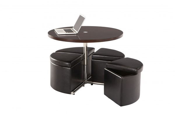 Cosmo Modern Cherry Black Wood PVC Round Table w/4 Ottomans STD-21919