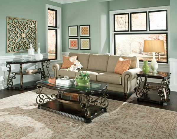 Seville Old World Golden Brown Metal Glass Coffee Table Set std-2193-OCT