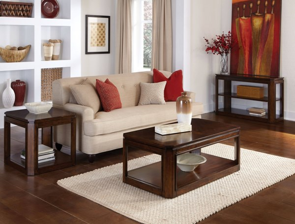 Avion Transitional Cherry Walnut Solid Rubberwood 3pc Coffee Table Set std-2243-OCT-S1