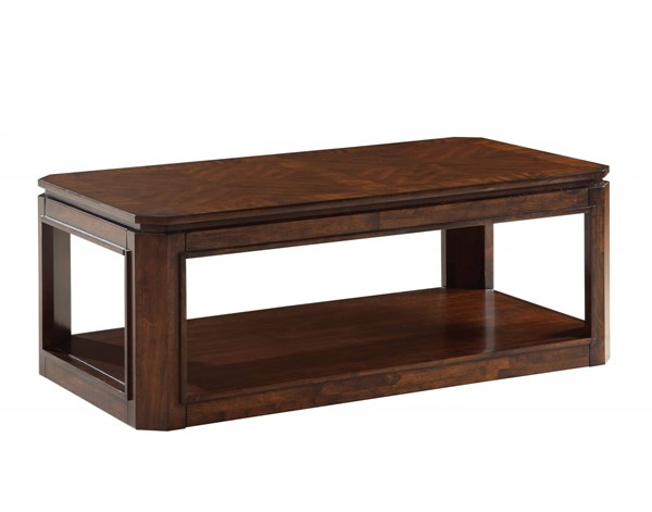 Avion Transitional Cherry Walnut Solid Rubberwood Cocktail Table STD-22431