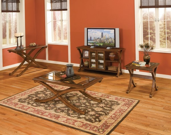 Madrid Transitional Brown Cherry Wood Glass Coffee Table Set std-2284-OCT