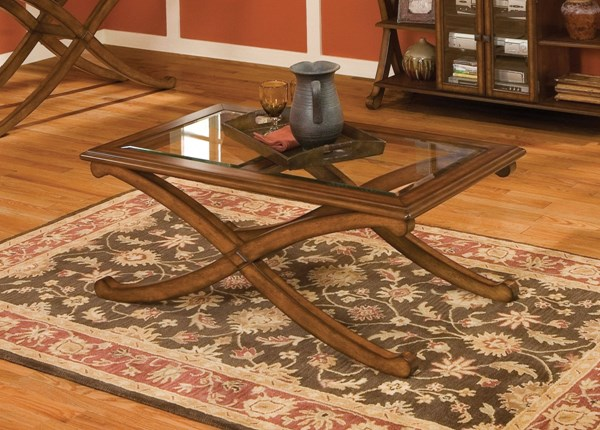 Madrid Transitional Brown Cherry Wood Glass Rectangle Cocktail Table STD-22841
