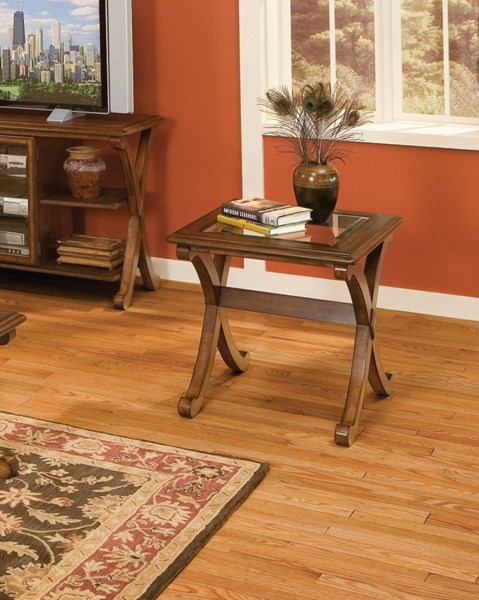 Madrid Transitional Brown Cherry Wood Glass End Table STD-22842
