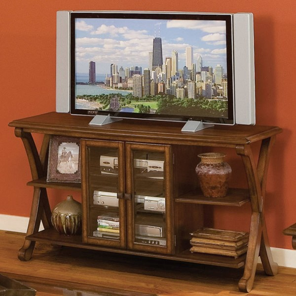 Madrid Transitional Brown Cherry Wood Glass Entertainment Console STD-22846