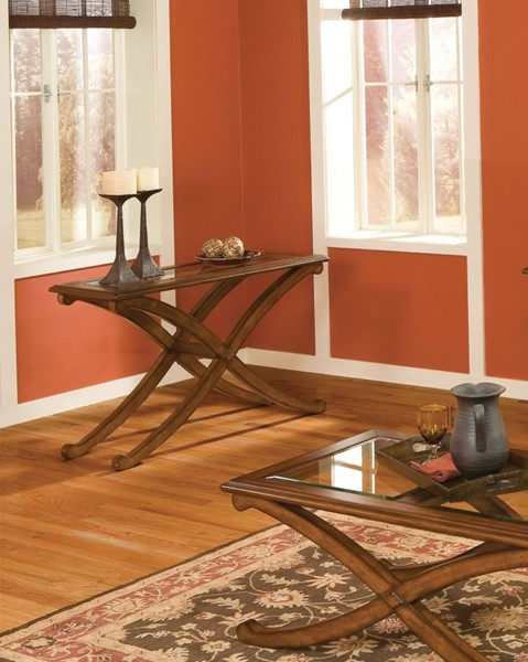 Madrid Transitional Brown Cherry Wood Glass Sofa Table STD-22847