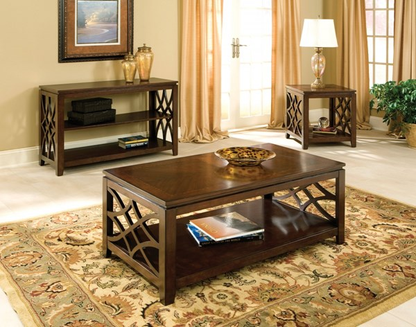 Woodmont Traditional Brown Cherry Wood 3pc Coffee Table Set std-2344-OCT-S1