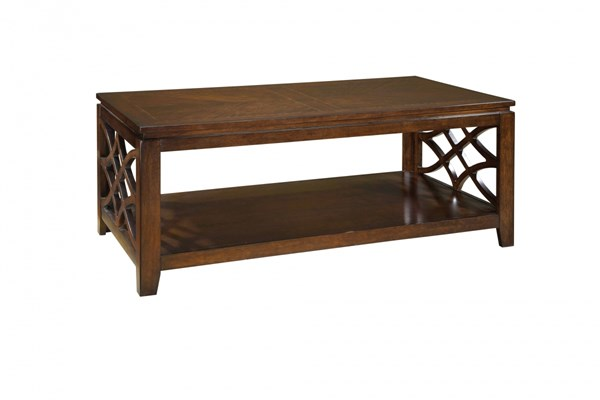 Woodmont Traditional Brown Cherry Wood Rectangle Cocktail Table STD-23441