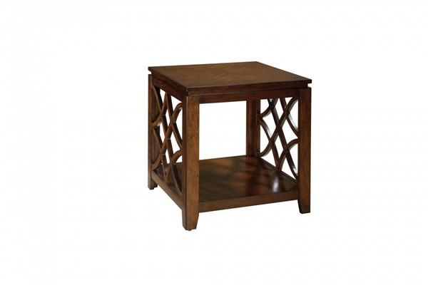 Woodmont Traditional Brown Cherry Wood End Table STD-23442