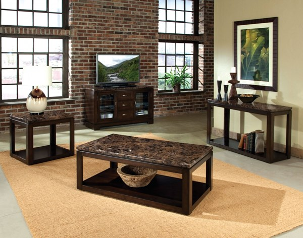 Bella Chocolate Cherry Faux Marble Solid Wood 3pc Coffee Table Set std-2362-OCT-S1