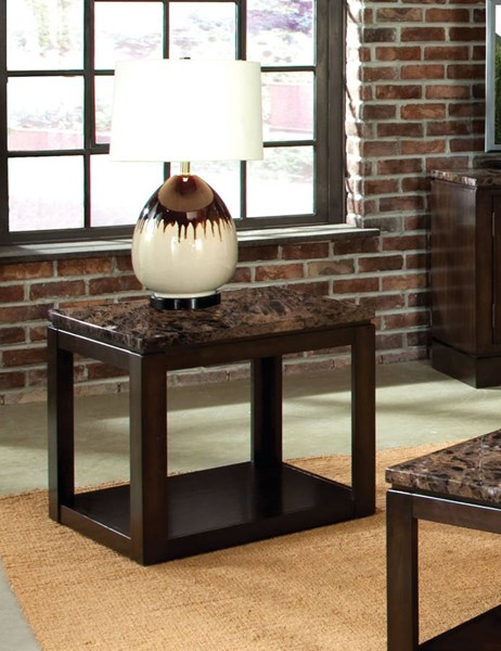 Bella Chocolate Cherry Faux Marble Solid Wood Storage End Table STD-23622