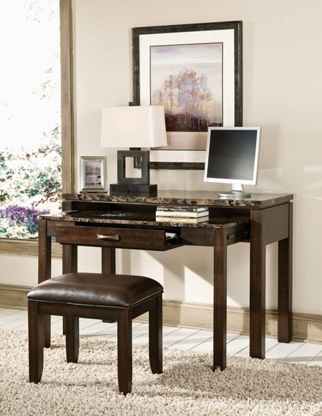 Bella Chocolate Cherry Faux Marble Solid Wood Desk/Entertainment Combo STD-23629