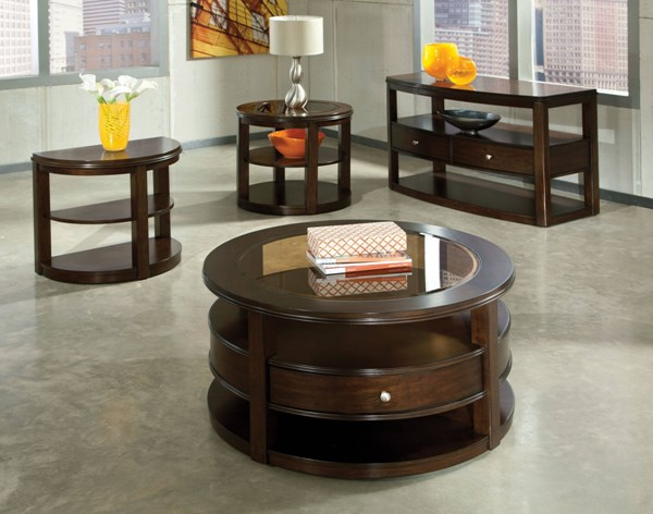 Spencer Transitional Cherry Wood Glass Coffee Table Set std-2379-OCT