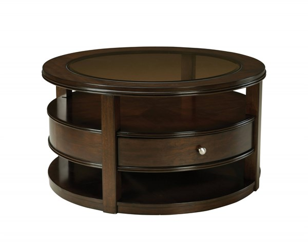 Spencer Transitional Cherry Wood Glass Cocktail Table STD-23791