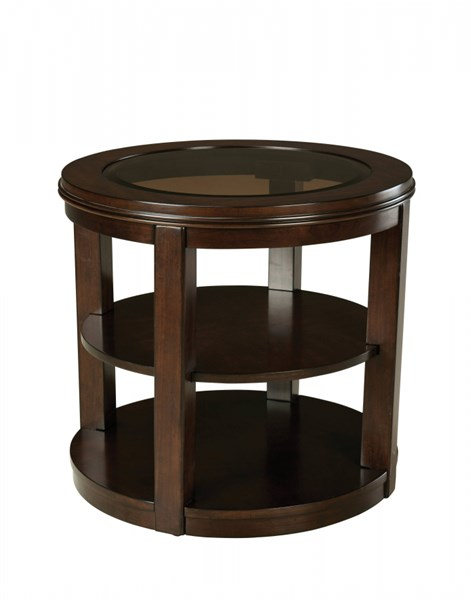Spencer Transitional Cherry Wood Glass End Table STD-23792