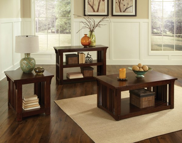 Artisan Loft Oak Wood 3pc Coffee Table Set std-2587-OCT-S1