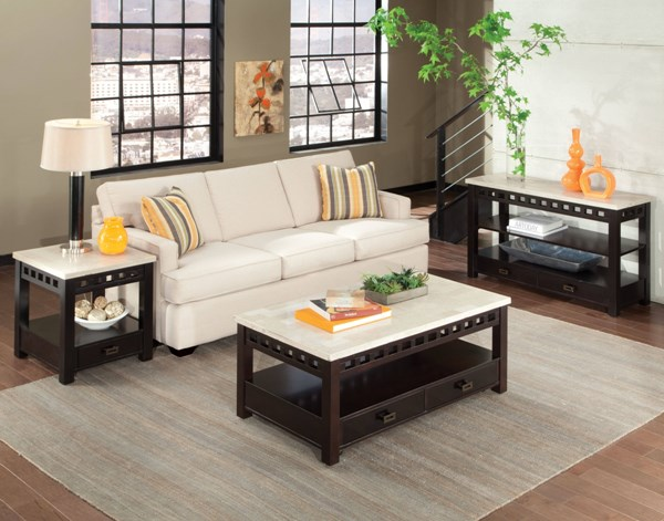 Gateway Contemporary White Wood Metal 3pc Coffee Table Set W/Storages std-268-OCT-S-VAR1