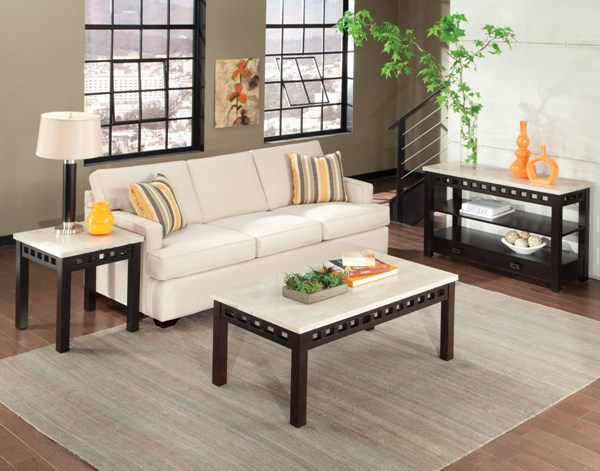 Gateway Contemporary White Wood Metal 3pc Coffee Table Set std-2681-OCT-S1