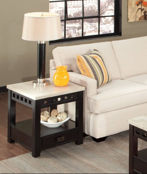 Gateway Contemporary White Wood Metal Drawer End Table STD-26818