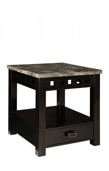 Gateway Contemporary Grey Wood Metal Drawer End Table STD-26828