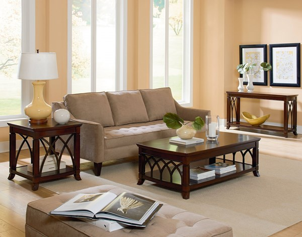 Abbey Traditional Cherry Wood 3pc Coffee Table Set std-2711-OCT-S1