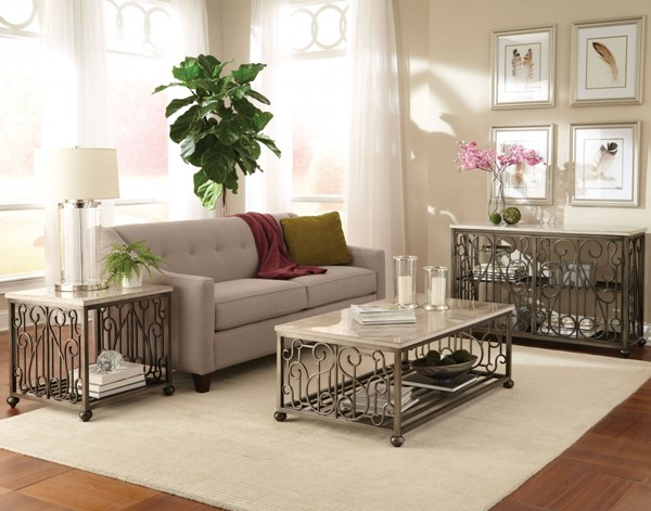 Toscana Transitional Off White Metal Marble 3pc Coffee Table Set std-2741-OCT-S1