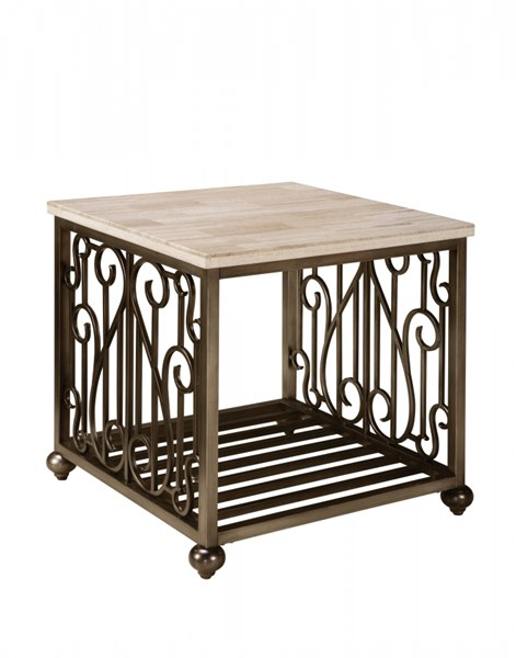 Toscana Transitional Off White Metal Marble Square End Table STD-27412