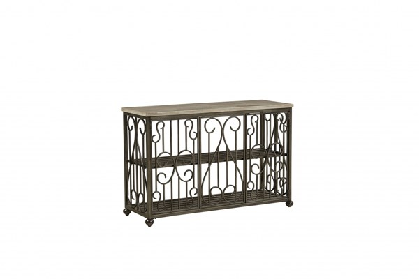 Toscana Transitional Off White Metal Marble Console Table STD-27416