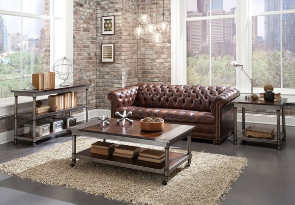 Hudson Contemporary Cherry Wood Metal 3pc Coffee Table Set std-2811-OCT-S1