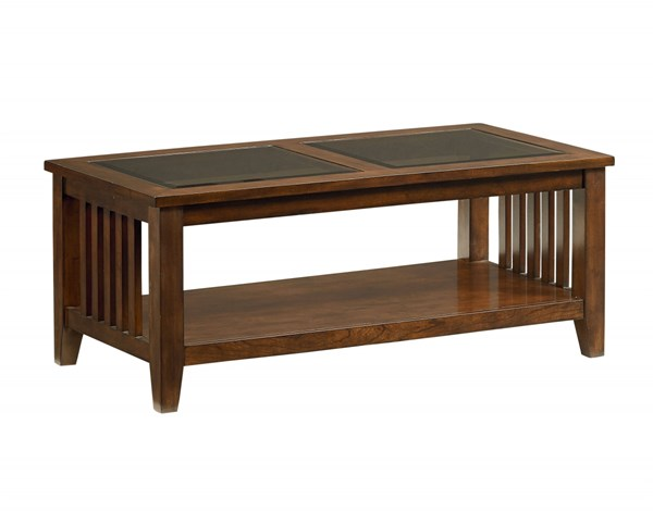 Rio Dark Transitional Brown Wood Glass Cocktail Table STD-28451
