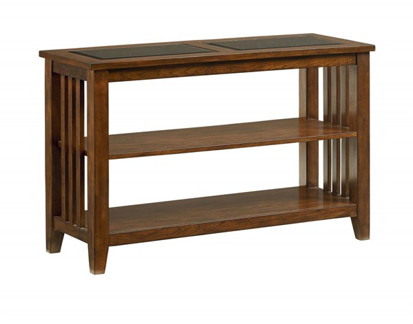 Rio Dark Transitional Brown Wood Glass Console Table STD-28456
