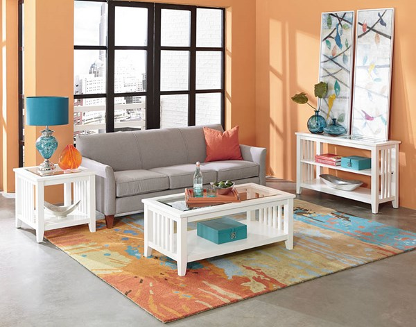 Rio Lite Transitional White Wood Glass 3pc Coffee Table Set std-2846-OCT-S1