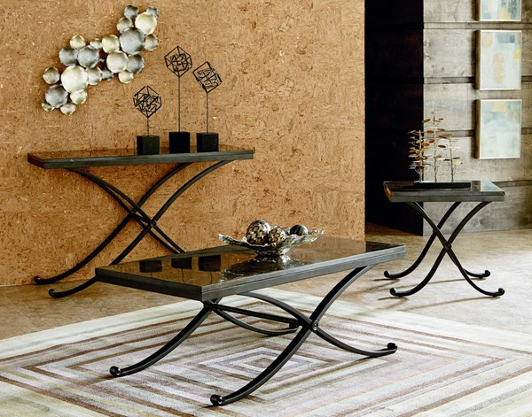 Santiago Occasional Grey Wood Metal Coffee Table Set std-2872-OCT