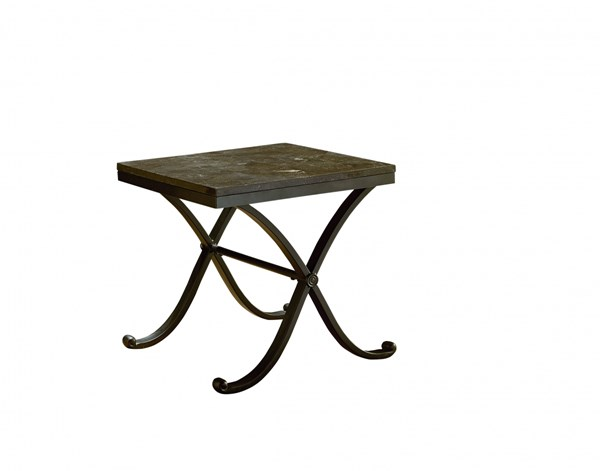 Santiago Occasional Grey Wood Metal Stone Top End Table STD-28722