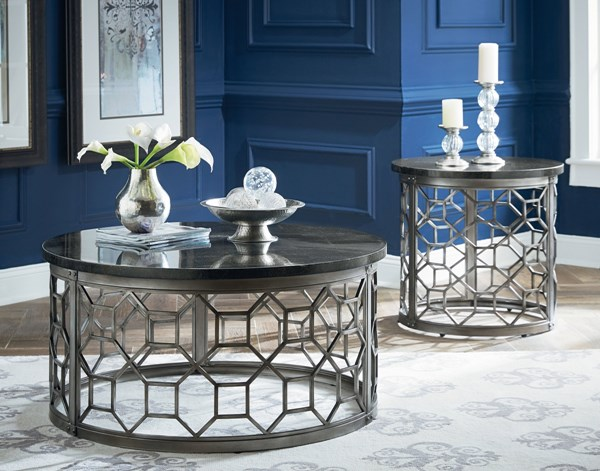 Equinox Pewter Metal Stone 3pc Coffee Table Set std-2892-OCT-S1